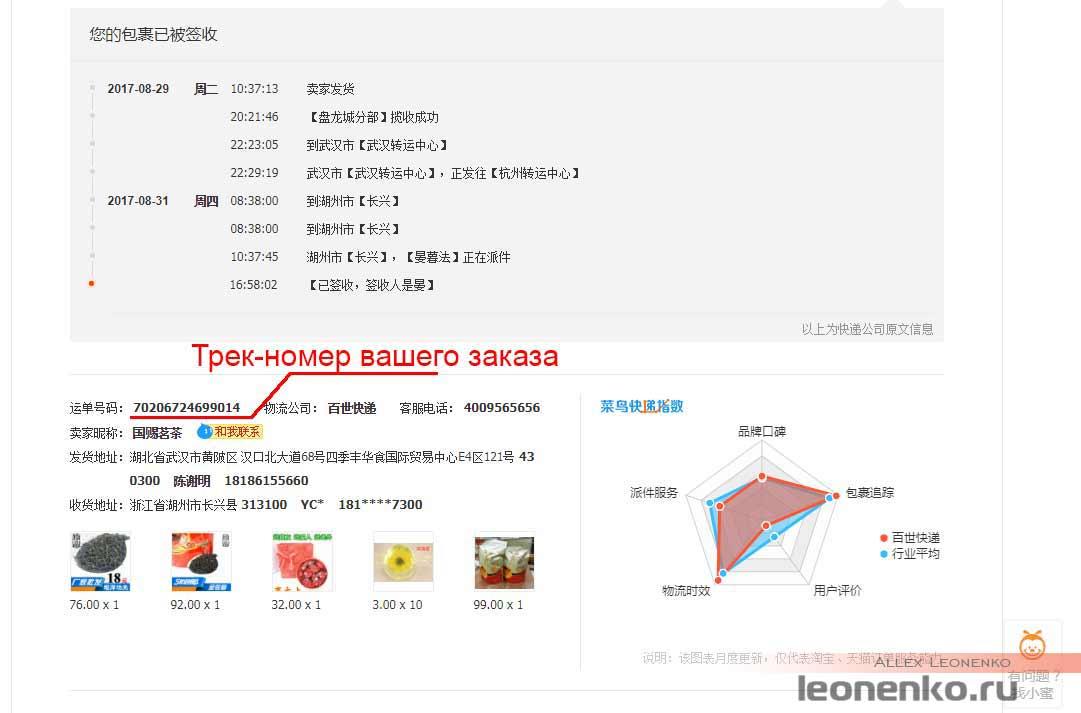 Taobao - информация о доставке товара