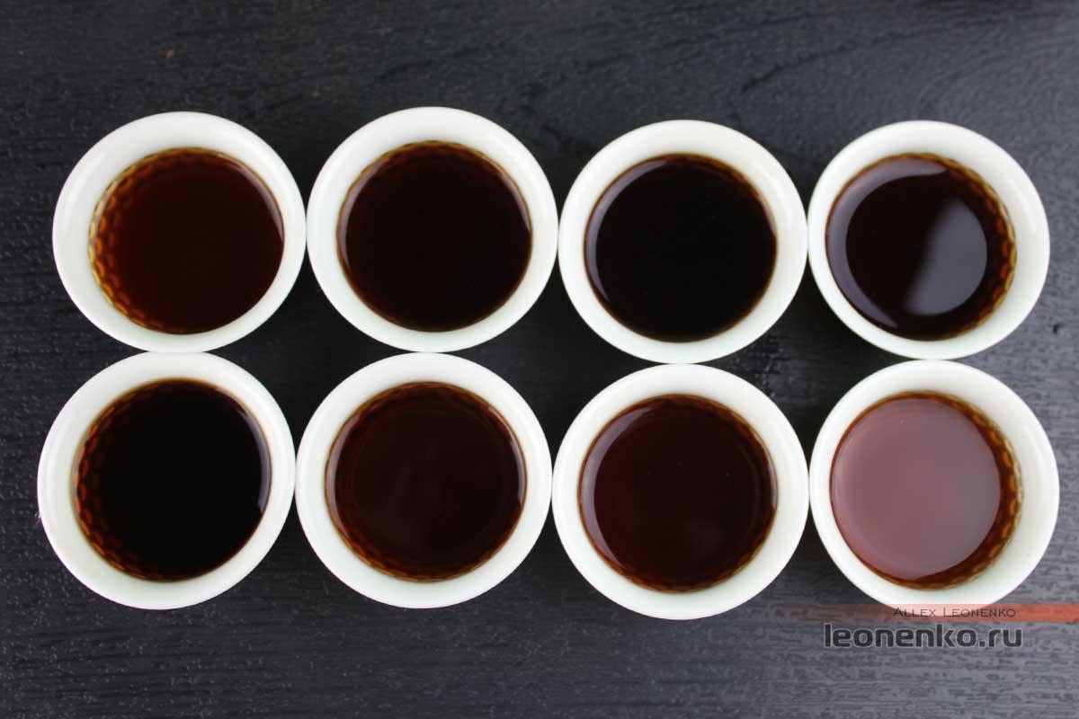 Шу Пуэр «Укун», фабрика Мэнхай Да И, 2017, приготовленный чай, проливы