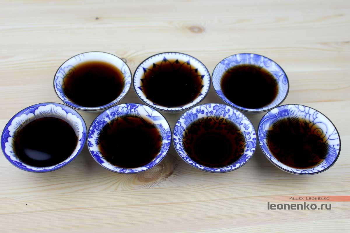Шу пуэр Бацзяотин Гунтин Пуэр Ван, 2017 г. - приготовленный чай