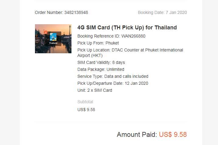 Стоимость двух сим-карт с интернетом в Таиланде